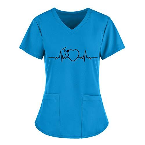 Writtian Krankenhaus Schlupfhemd Bluse Kurzarm V-Neck Mischgewebe Kasack Damen Pflege mit Liebe Motiv Bunt Arzt Uniform Berufsbekleidung Krankenschwester Kleidung