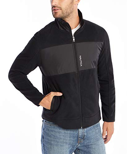Nautica Men's Full-Zip Mock Neck Fleece Sweatshirt, True Black, Large