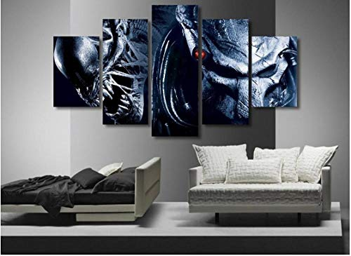 baixiangguo Aliens Vs Depredador Cuadros Decoracion Salon 5 Piezas Lienzo Murales Pared Hogar Pasillo Decor, Enmarcado, Innovador Regalo-150 x 80 cm