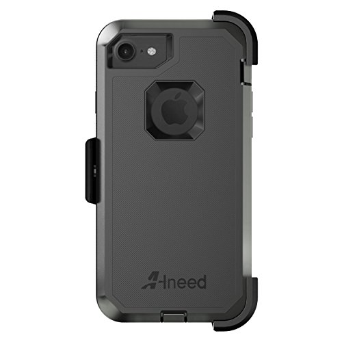 iPhone 8 CaseiPhone 7 CaseHeavy Duty Drop Protection Tough Rugged Hybrid Hard Shell Cover Case with Belt Clip Screen Protector for iPhone 7 47 inchBlack