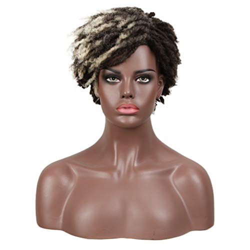 FASHION IDOL Dreadlock Wig Synthetic Short Kinky Curly Wig Ombre Brown Afro Twist Wig For African American Kanekalon Wig Flame Retardant (DYTD 1B/33)