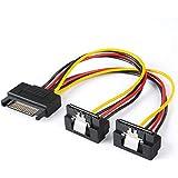 SATA電源ケーブル, CableCreation [2本セット] SATA 15ピン(オス) - 2xSATA 15ピン(メス) ダウンアングル パワースプリッタケーブル 0.15m