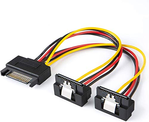 SATA Power Kabel, cablecreation [2er Pack] 6 SATA 15 Pin männlich auf 2 x SATA 15 Pin Down Winkel Buchse Power Splitter Kabel