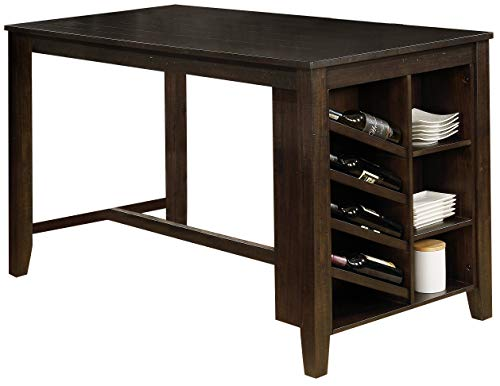 Best Quality Furniture 1 Counter Height Table-Solid and Manufactured Wood-Cappuccino, Beige