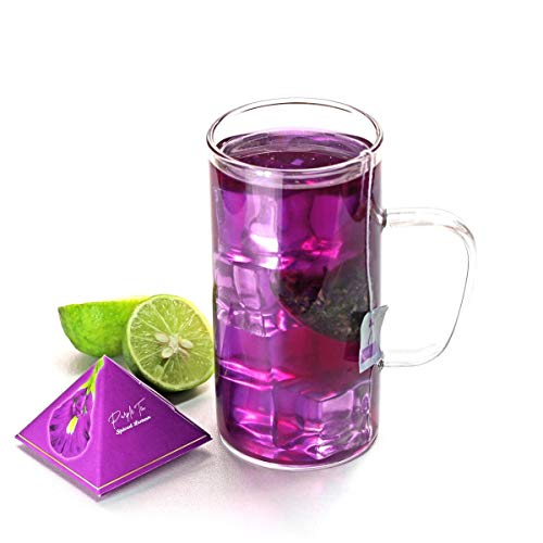 BLUE TEA - Spiced Lemon Blend of Butterfly Pea Purple Tea Flower, Lemon and Ginger for Weight Loss (12 Handcrafted Pyramid Teabags...