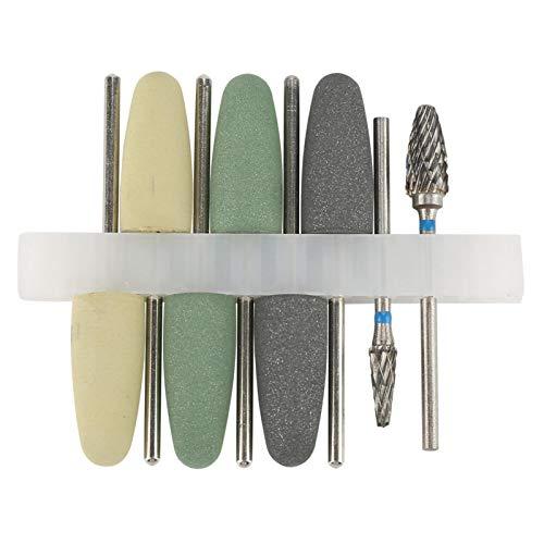 El kit de fresas de pulido rotatorio incluye 6 piezas de cabeza de molienda de goma de silicona 2 piezas de cabeza de molienda de acero de tungsteno para resina de cerámica de metal noble