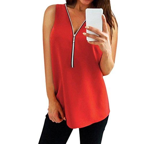 Preisvergleich Produktbild Kobay 9 Farben Damen Reißverschluss Ärmellos Lässige Weste Top Bluse Sommer lose T-Shirts(Large, Rot )