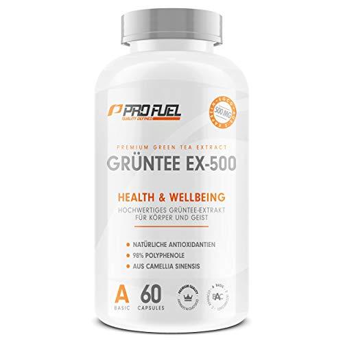 GRÜNTEE EX-500 | Hochwertiger Grüntee Extrakt | Natürliche Antioxidantien | Mit 98% bioaktiver Polyphenole, EGCG | Made in Germany | 60 Kapseln Green Tea