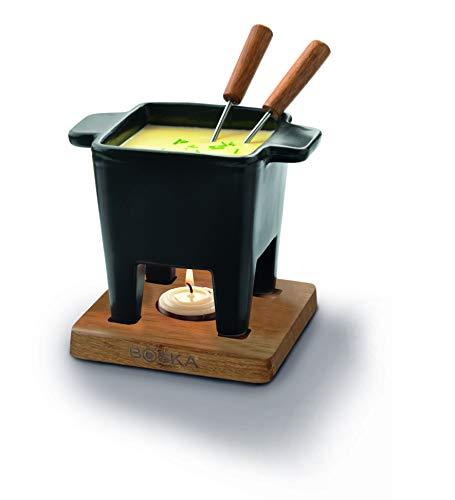 dimensioni: 140 x 95 x 112 mm Peso: 738g il set comprende un recipiente in ceramica nera e 2 forchette utilizzabile nel forno a microonde lavabile in lavastoviglie capacità 200ml