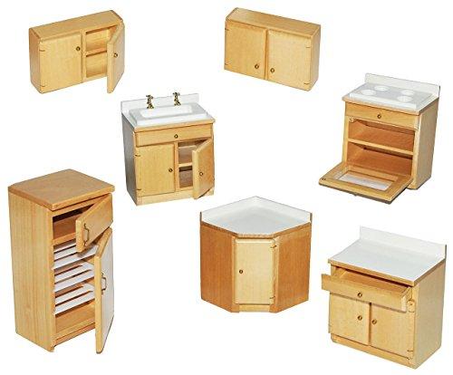 alles-meine.de GmbH 7 TLG. Set: Küche / Küchenmöbel aus hellem Natur Holz - Miniatur - Schrank + Spühle + Hängeschränke + Herd + Eckschrank + Kühlschrank mit Gefrierfach - Puppen..
