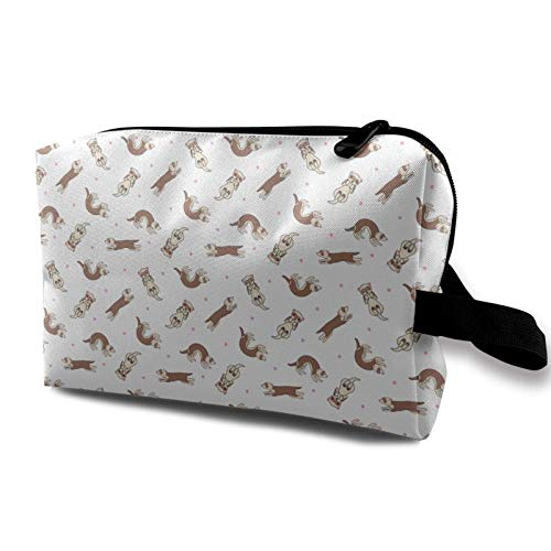 XCNGG Youth Toiletry Bags Multipurpose Cosmetic Bag Roomy Makeup Bags Ferret Frolic Tiled Pattern of Ferret