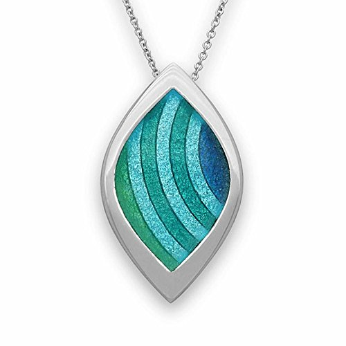 Sterling Silver Traditional Scottish New Dawn Aquamarine Enamel Hand Crafted Necklace Pendant