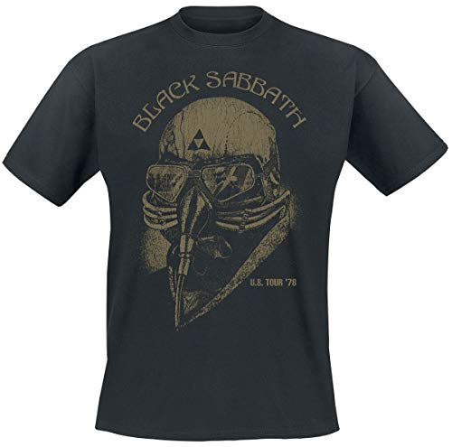 Black Sabbath U.S. Tour '78 Hombre Camiseta Negro L, 100% algodón, Regular