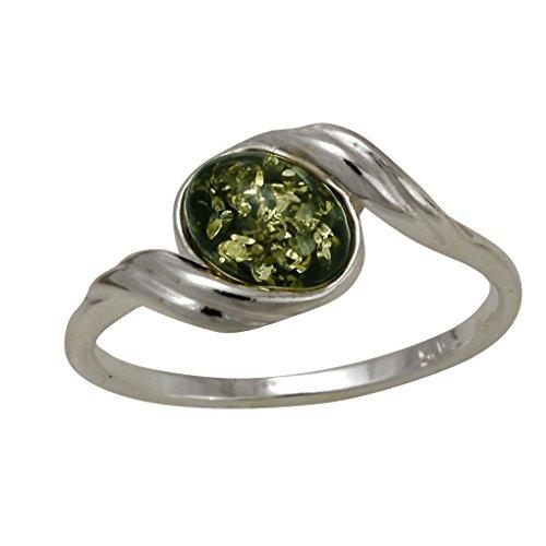 HolidayGiftShops Sterling Silber und Baltic Green Amber Ring Estelle - Größe 9,5