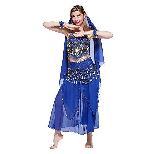 VENI MASEE Damen Bauchtanz Kostüm Set Sexy Kostüm Damen - Sechsteiliges Set - blau