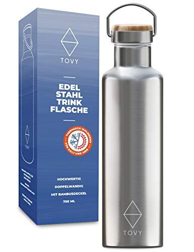 TOVY Trinkflasche Edelstahl 750ml, Thermosflasche, BPA frei [GRATIS DICHTRING] Isolierflasche, Auslaufsicher, Teeflasche, Edelstahl Trinkflasche Kohlensäure geeignet mit Bambusdeckel