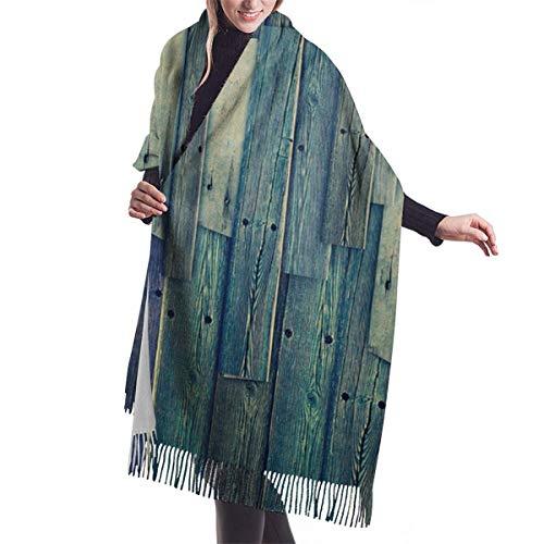 YANAIX Damen Herbst Winter Winter Schal,Thanksgiving Weihnachten Old Grunge Vintage Holzpaneele Hintergrund, Schal Warm Soft Chunky Große Decke Wrap Schal Schals