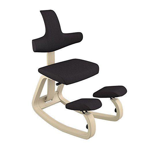 Varier ThatSit Balans Kneeling Chair with Backrest (Black Revive Fabric with Natural Base)