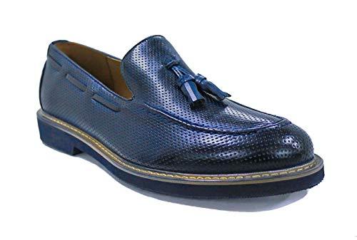 Evoga Scarpe mocassini uomo Class blu scuro eleganti casual man's shoes (42, Blu)