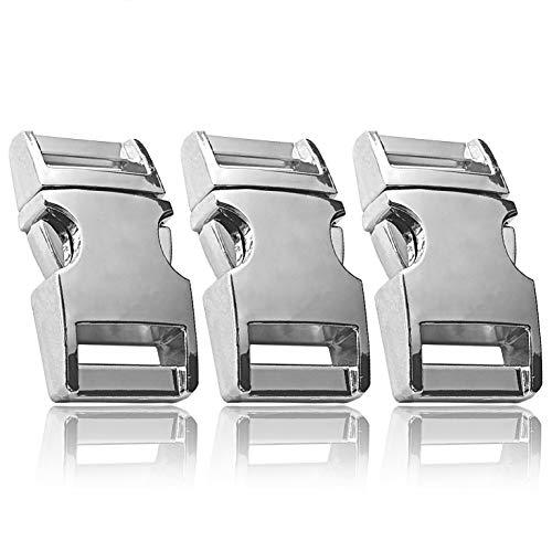 Klickverschluss aus Metall im 3er Set, 3/4'' Klippverschluss/Steckschließer/Steckverschluss für Paracord-Armbänder, Hunde-Halsbänder, Rucksack, Farbe: Silber