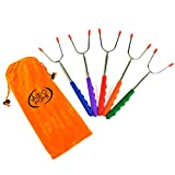 ValdoHome New Marshmallow Roasting Sticks Set of 5 Safe for Kids Extra Long 45'' Telescoping Extendable Camping Cookware - Hot Dog, Smores Forks