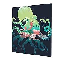 アートパネル タコ人魚海洋 アートフレーム インテリア アートポスター 壁掛け絵画 インテリア 絵画 モダン キャンバス絵画 装飾画 部屋飾り 現代 木枠セット 50*60cm