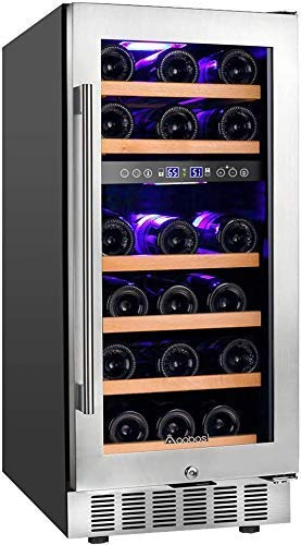 Aobosi 15 Inch Wine Cooler and 15 inch Beverage Cooler Built in or Freestanding