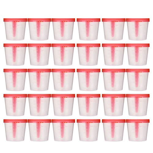 EXCEART 50 Stücke Probenbecher mit Deckel Urinbecher Urinprobenbecher Aufschraubdeckelbehälter Transparente Einweg Plastik Messbecher 40ml