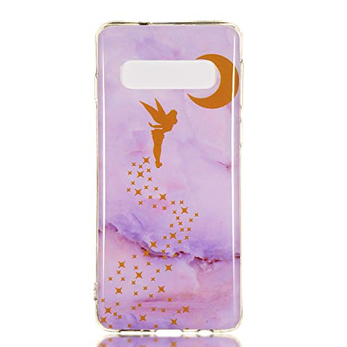 6City8Ni Coque [Ultra Slim] [Anti-Scratch ] Antidérapan Flexible 3D Bling Glitter Marble Premium Cristal Transparent Modèle TPU Silicone Soft Crystal Clear Gel Protection Bumper pour Samsung S10