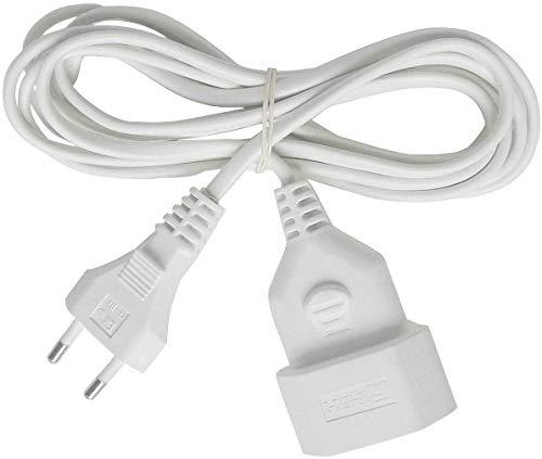 Brennenstuhl cable alargador de corriente de enchufe plano tipo euro (enchufe europeo, para interiores, cable plano de 5m) blanco