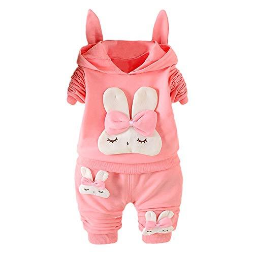 PPangUDing Bekleidungsset Kinder Baby Jungen Mädchen Mode Langarm Baumwolle Cartoon Rabbit Druck Bowknot Hoodie Top + Einfarbig Lange Hosen 2 Stücke Body Kleidung Set Pyjamas (12M, Rosa)