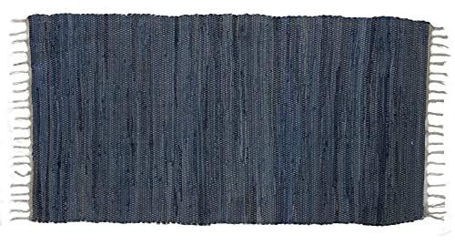 Generisch Alfombra tejida a mano 'tonos tierra' alfombra de algodón alfombra de retazos, 70 x 140 cm, color: azul