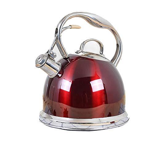 Bouilloire induction 304 en acier inoxydable épaissie bouilloire sifflet ménage eau chaude gaz induction cuisinière bouilloire à gaz 3L WHLONG (Color : Red)