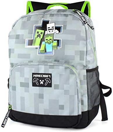 Minecraft Backpack For Boys Zombie Skeleton Kids Grey School Bag 18 product image