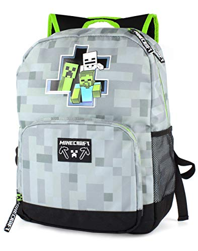 Minecraft Creeper Zombie Skeleton Breakthrough Niños Mochila escolar gris