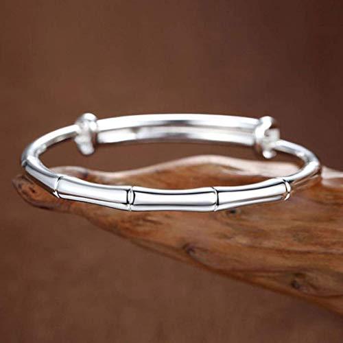 SMEJS Pulsera Periódico de bambú pulsera de plata de la paz para mujer simple joyería de plata maciza estilo nacional pulsera de plata esterlina regalo del día de San Valentín mujer