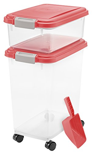 For Sale! IRIS USA 3 Piece Airtight Pet Food Storage Container Combo, Red 301125