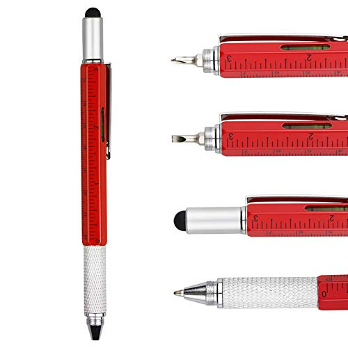 DunBong Metal Multi tool Pen 6-in-1 Stylus Pen - With Screwdriver, Phillips Screwdriver, Flathead Bit Slotted Screwdriver, Ballpoint Pen Black ink, Stylus pen, Bubble Level and Ruler (Red)