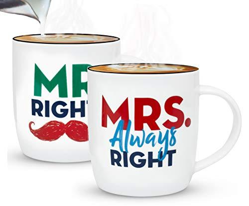 Gifffted Mr Right Mrs Always Right Tassen Set für Sie und Ihn, Lustig Hochzeitsgeschenke für Brautpaar,Paar Geschenk, Braut Bräutigam, Paare Weihnachtgeschenke, Hochzeitstag, Kaffeetasse