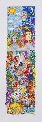 James Rizzi Drawing Attention Poster Bild Kunstdruck Lithografie 74x25,5cm