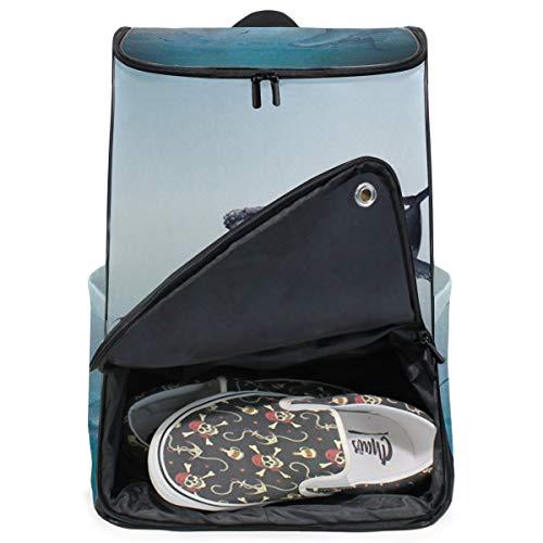 DEZIRO Mochila para portátil con diseño de ballena voladora y bolsa de ordenador para mujeres y hombres universitarios, mochila de negocios.