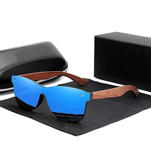 UKKD Gafas De Sol Polarizadas Muje Kingseven Natürliche Holz-Sonnenbrille-Männer Polarisierte Mode Sonnenbrillen Ursprüngliche Hölzerne Oculos De Sol Masculino,Blau Bubingaholz,Spanien