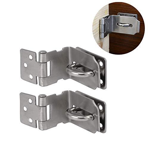 2 Stück Edelstahl Vorhängeschloss Haspe, 90 Grad Rechtwinkliges Türschloss, Vorhängeschloss-Sicherheitsvorrichtung, Riegel für Türen, Fenster, Schubladen