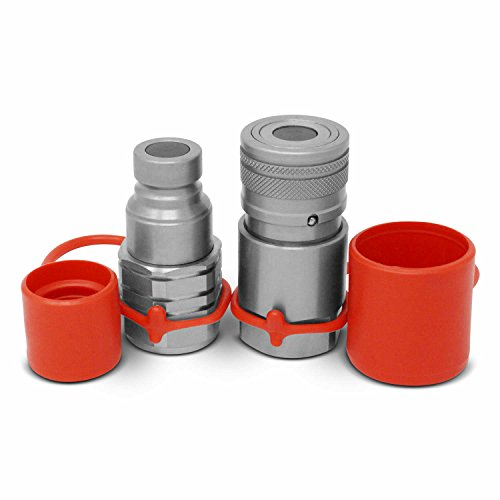 5/8 SAE -10 Flat Face Hydraulic Quick Connect Couplers/Couplings Set with Dust Caps