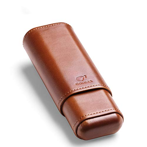 Cigar Case Holder - Leather Cedar Wood Lined Brown 2 Ct Sturdy Travel Case