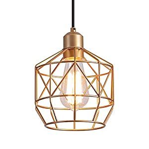 Q&S Kitchen Island Hanging Pendant Light Fixtures,Gold Basket Cage Vintage Farmhouse Lighting Fixture for Dining Room Bar Entryway Locker Stairway,Bathroom,E26,1 Light