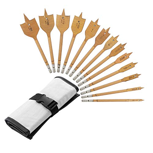 13 Piece Spade Drill Bit Set, Paddle Flat Bit Set for Woodworking, 1/4'to 1-1/2', with Exquisite Packaging, for Cutting Wood, Plastic and Aluminum Holes