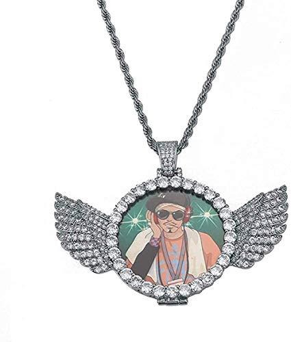 Medallones Personalizados Po Medallones de Cobre Alas de ángel Colgante/Collar Hombres Helado Cristal Brillante Circón Circón Cadena de Tenis Joyería de Hip Hop
