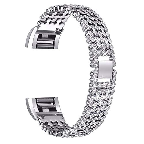 Hemobllo Ersatzbänder kompatibel für Fitbit Charge 2 Edelstahl Crystal Sport Armband (Silber)