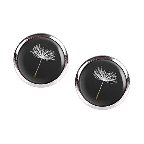 Stud Earring Pair with Cabochon Picture Dandelion Dandelion Hundeblume single black and white silver 0.47 inch